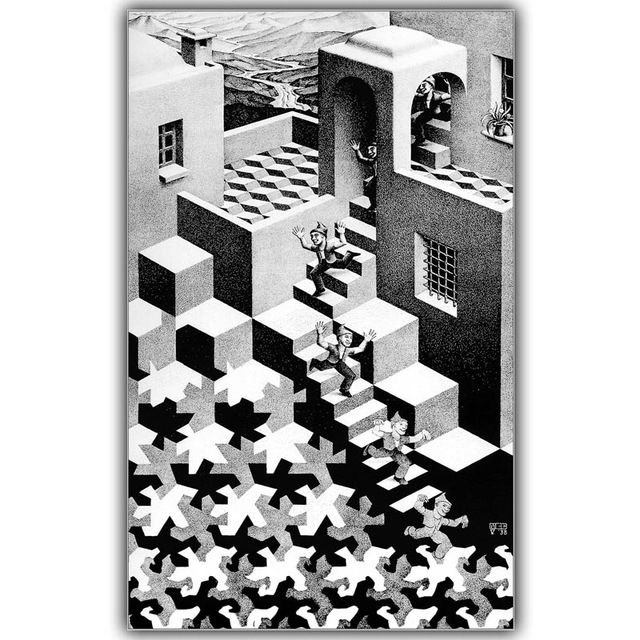 m c escher's relativity analysis Named for the escher drawing of the same name, relativity is an open-world puzzle game that involves manipulation of gravity players must navigate through an array of intricately winding rooms, shifting gravity's pull and opening locked doors with color-coded blocks.