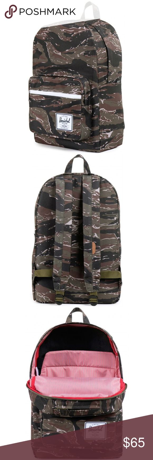 NWT HERSCHEL TIGER CAMO POP QUIZ BACKPACK Herschel's quintessential back to school bag that features an extended assortment of pockets and organizers.  • Fully lined with our signature coated poly fabric • Fully padded fleece lined up to 15˝ laptop sleeve pocket • Front pocket with internal mesh organizers and key clip with exterior waterproof zipper detail • Eco-friendly or self fabric reinforced bottom • Fleece lined sunglass/accessory pocket • Internal media pocket • 20L volume capacity…