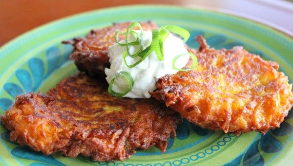 """Sweet Potato Latkes with Apple and Onion. These were really good. We topped with little dollops of applesauce and Greek yogurt. For the """"complete"""" pancake mix, I used a buckwheat mix."""