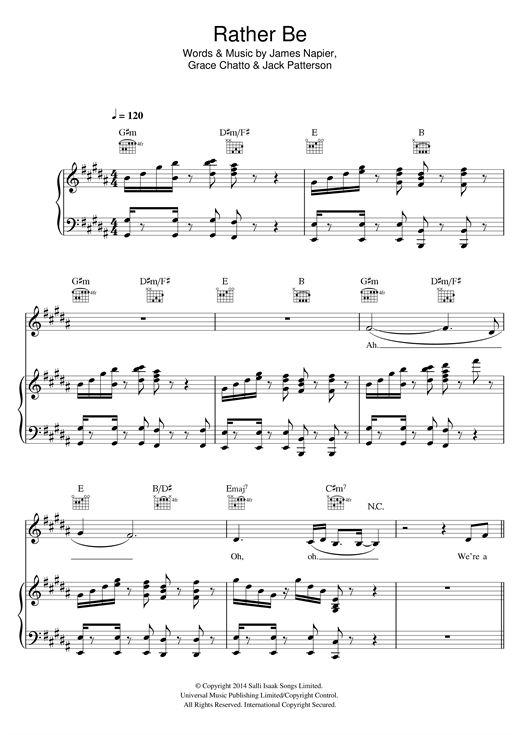 Clean Bandit: Rather Be - Partition Piano Voix Guitare (Mélodie Main Droite) - Plus de 70.000 partitions à imprimer !
