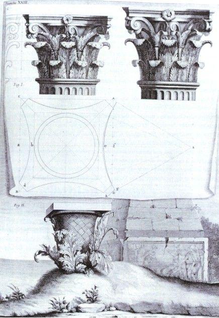 Orden corintio - Segunda edición de Los dies libros de arquitectura de Vitruvio realizada por Claude Perrault, París, 1684