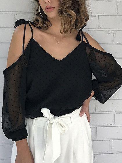 Картинки по запросу черные кружевные блузки в горошек