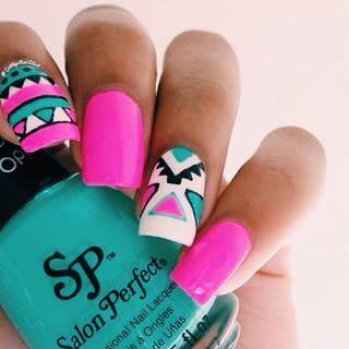 Aztec tribal print nail art. ☪❃↟❂☼~ AbbyBartel01