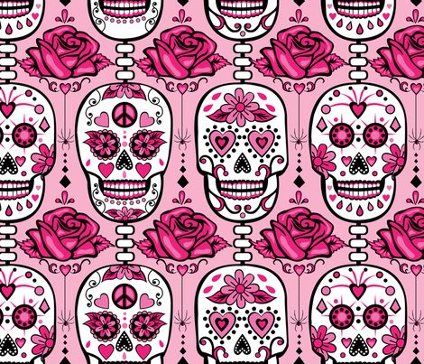 Fabric By The Yard Pink Sugar Skulls Craft Inspiration