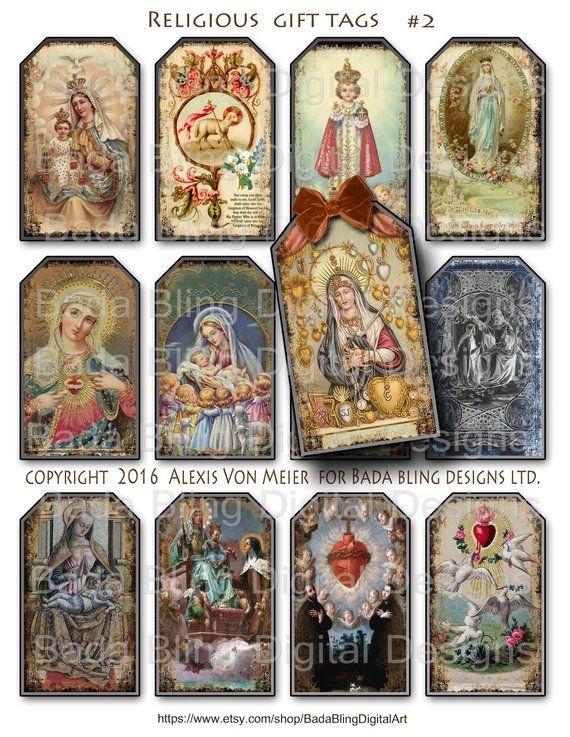 Digital collage sheet vintage Holy Cards Instant download