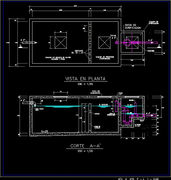 Septic Tank With Dosing Siphon Dwg Block For Autocad