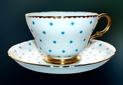 Shelley polka dots turquoise aqua henley footed cup saucer for Gold polka dot china