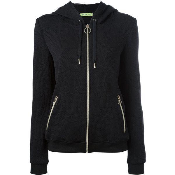 Versace Jeans embossed logos zip up hoodie (470 CAD) ❤ liked on Polyvore featuring tops, hoodies, black, hooded pullover, hooded zip up sweatshirt, versace, zip up top and versace hoodie