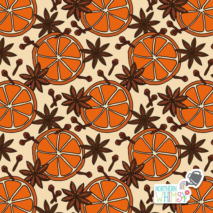 A closer look at an orange slice, star anise, and cloves pattern from Northern Whimsy's Christmas Spice collection.
