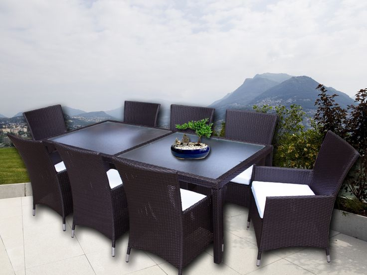 Brown Millana 8 Seater Wicker Outdoor Dining Setting