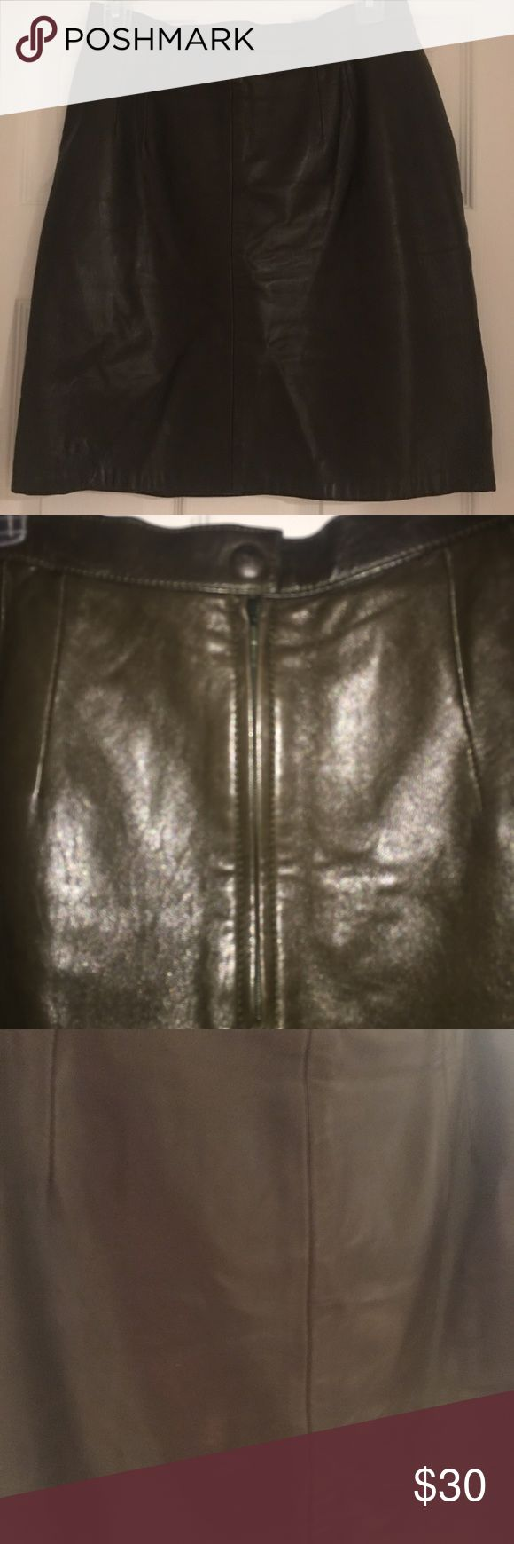 Chocolate Brown Vintage Leather Mini Skirt Some minor signs of wear from hanger. See picture and note leather folds near waist and some minor scratches in same area. Super soft leather!! Measurements: W: 14.5 across flat, L: 19. Open to reasonable offers. Skirts Mini