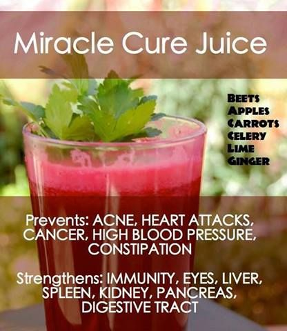 Miracle Cure Juice Ingredients: (always choose organic whenever possible!) 2 large beets 4 long carrots 2 apples (of any kind) 6 stalks celery 2 limes 2 inches ginger