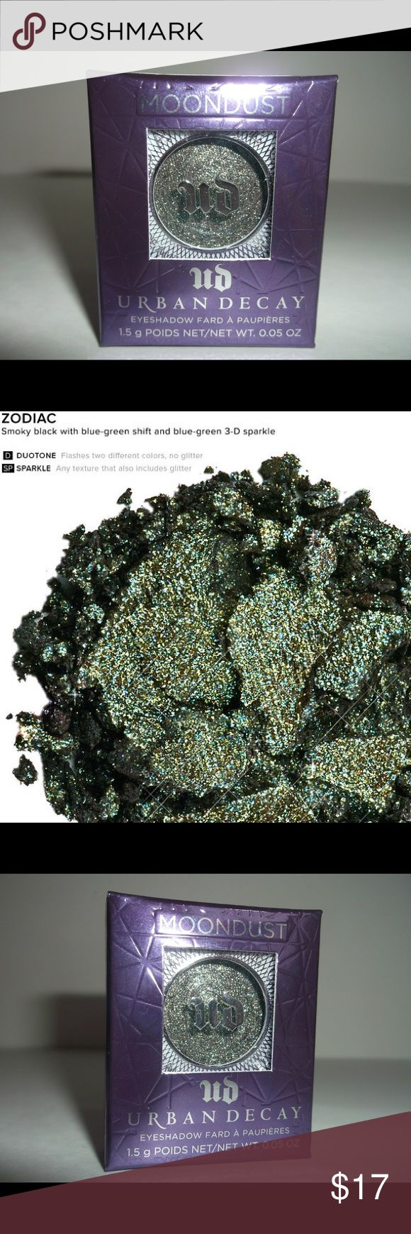 """URBAN DECAY MOONDUST SHADOW """"Zodiac"""" deep green URBAN DECAY MOONDUST SHADOW  Full Size Shade:  Zodiac - smoky black with blue-green shift and blue-green 3-D sparkle What it is formulated WITHOUT: - Parabens - Sulfates  - Phthalates Urban Decay Makeup Eyeshadow"""