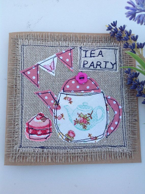 Hi there, thank you for popping into my shop.. This listing is for this cute teapot card.. I have made it using recycled brown card with a cute shabby chic teapot stitched onto linen and hessian. There is Tea party embroidered onto the top corner.. The card is left blank for your own