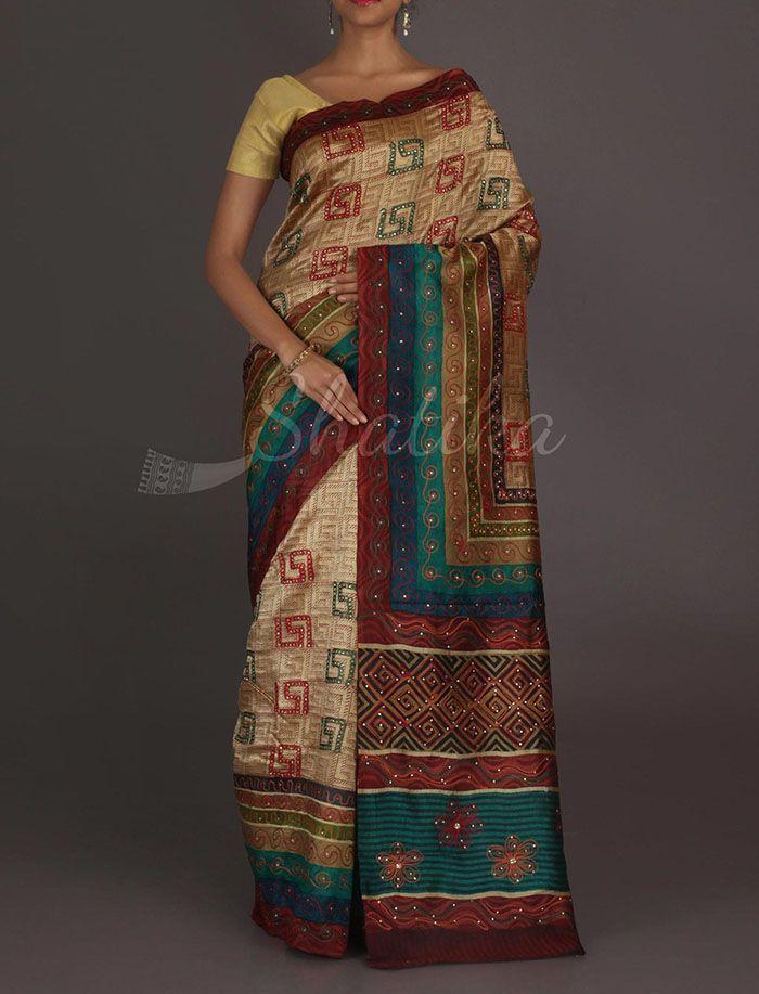 Gauhar Labyrinth Design #Kantha Work Pure #SilkSaree