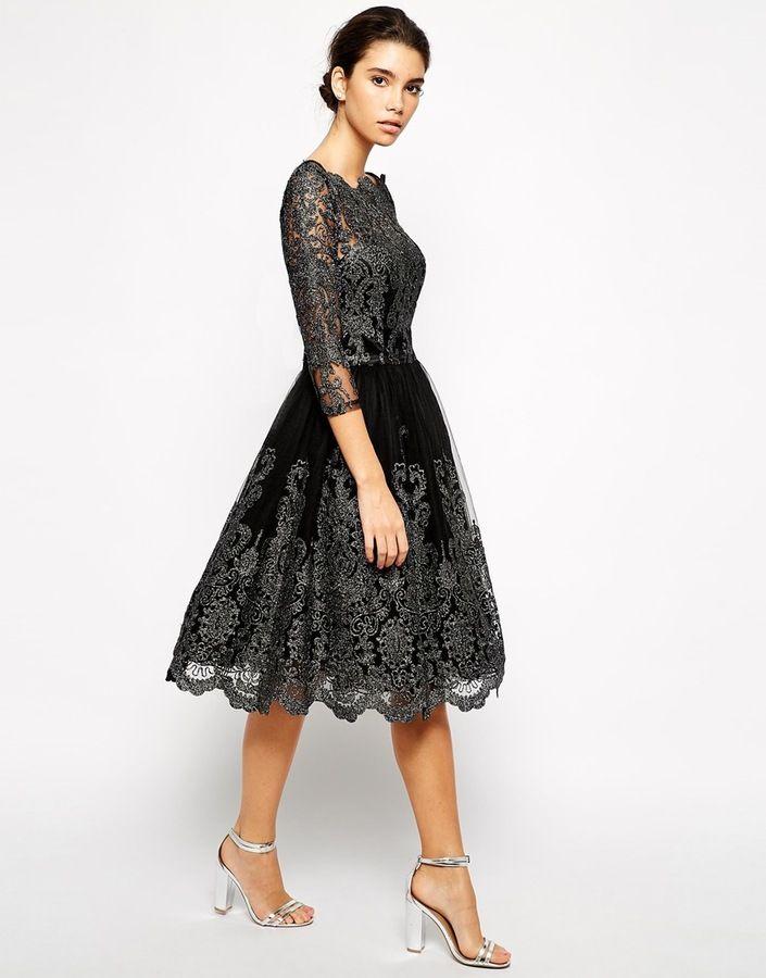 Chi Chi London Premium Metallic Lace Midi Prom Dress with Bardot Neck
