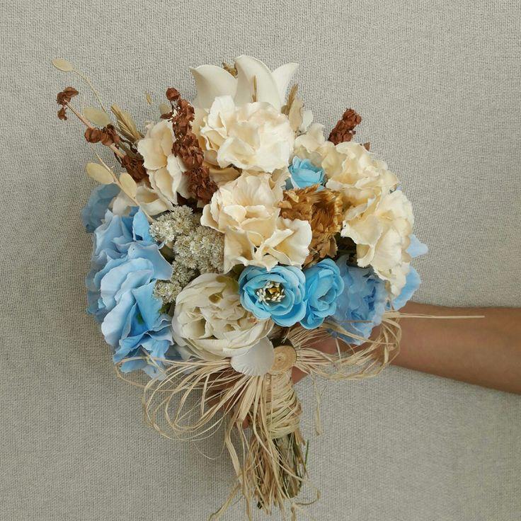 Mavi Çiçekli Gelin Çiçeği -  #elbuketi #elçiçeği #gelincicegi