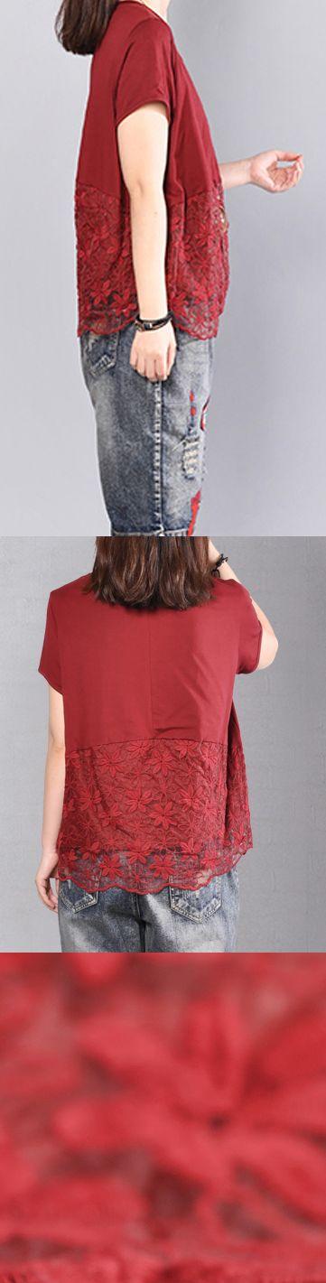 Fine red cotton blouse Loose fitting cotton cotton t shirt 2018prints patchwork cotton clothing t shirt