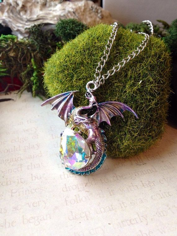 Crystal Dragon Egg Fairy Tale Pendant - Medieval Renissance Jewelry - Dragon Lover Fantasy Pendant - Crystal - Dungeons and Dragon Jewelry