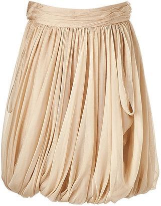 RALPH LAUREN Clairy Tan Silk Balloon Skirt