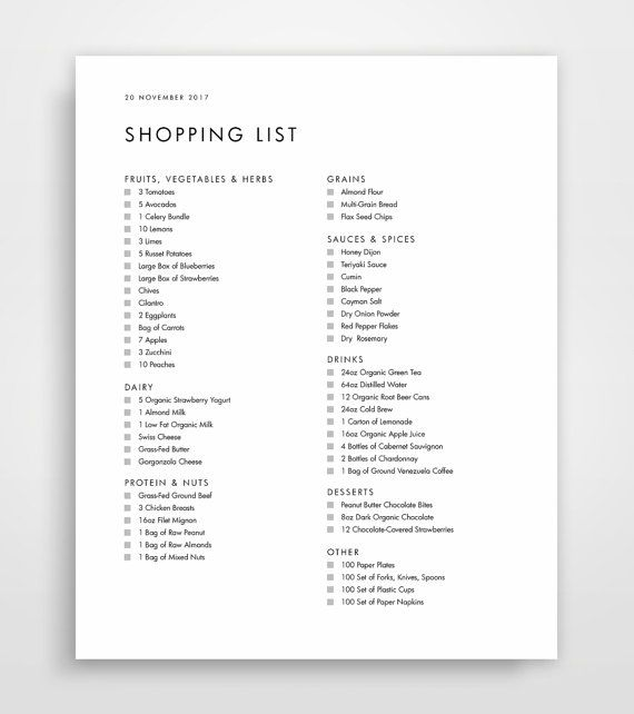 Shopping List Grocery List Grocery List by JPWDesignStudio on Etsy