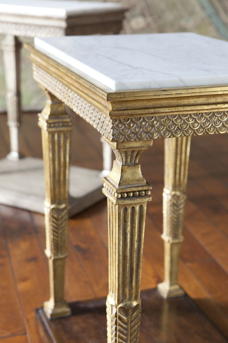 Montblanc I U0026 II By Ebanista ~ Hand Carved Side Table, Honed Carrara Marble  Top, Antique Borghese Detailing.