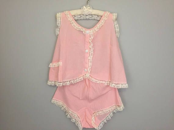 60s Vintage Womens Pajama Sets Pink Gingham Top & Bloomers Short Pajamas Baby Doll Pajamas Lace Pin Up Sleepwear 1960s Lingerie Large Medium