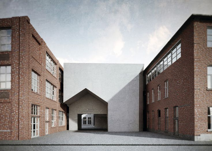 Aires Mateus (Portuguese firm) to design architecture school in Tournai, Belgium-- new building threads through existing buildings and links areas of campus; house- shaped entry!