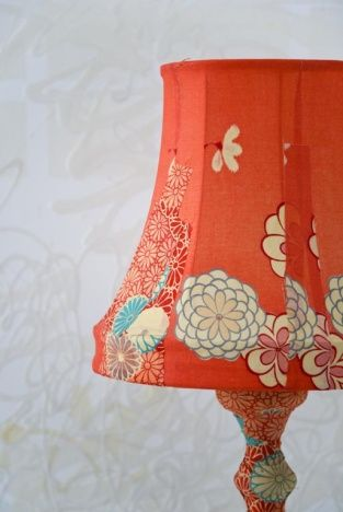 Kimono lamp... mod podge the fabric to the base and embroider the fabric on the shade... hmmm...