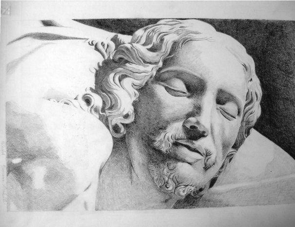 Pietà di Michelangelo - Particolare del volto di Gesù (San Pietro - Roma) - matita su carta - misura: 40 x 32 cm. - anno: 2006 - Collezione privata.