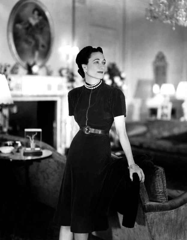 "Wallis Simpson, wearing the Cartier gem-set cross bracelet her future husband gave her (""My crosses to bear."")."