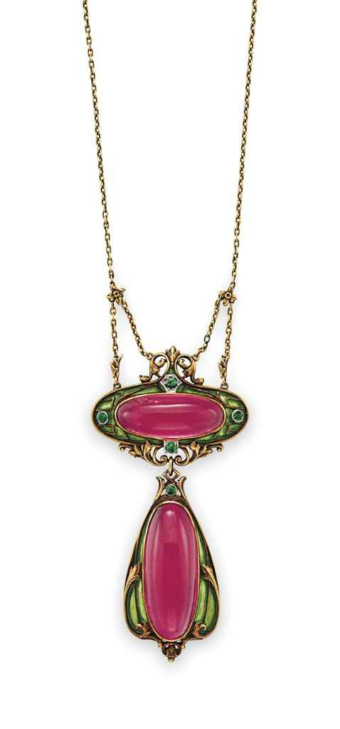 Art Nouveau Necklace with two-tier pendant featuring  pink-magenta Tourmaline resembling an inselct.
