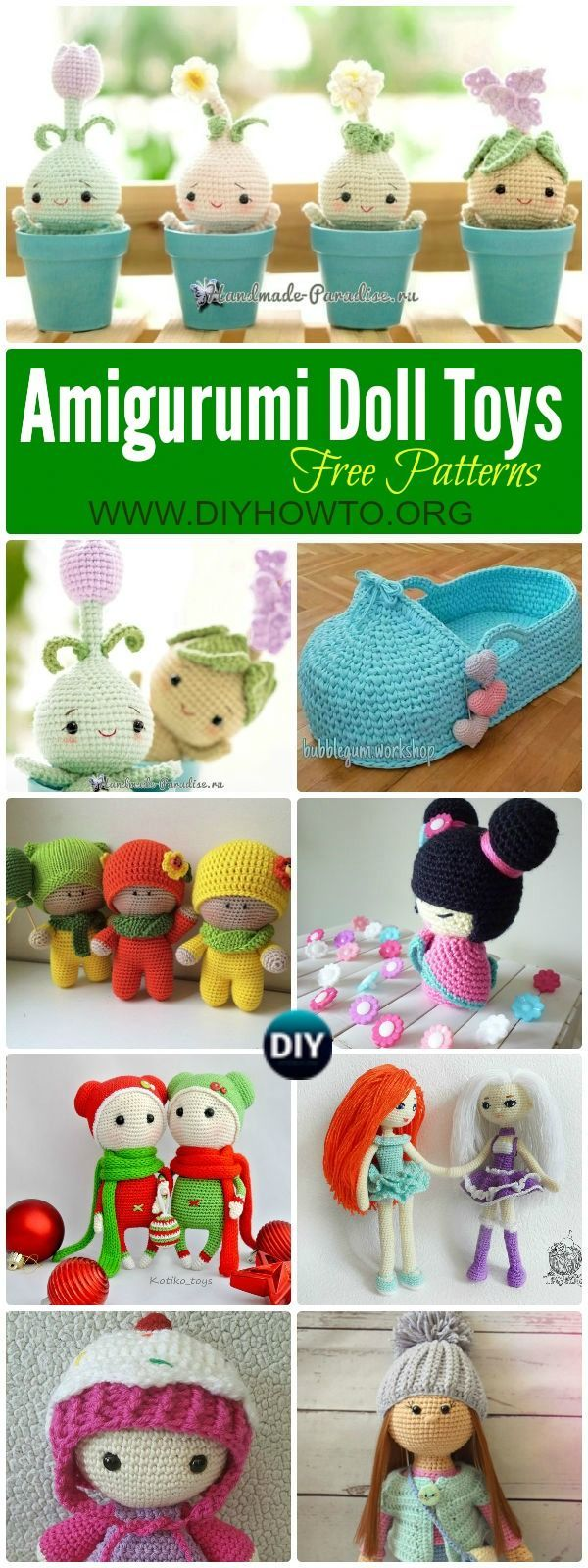Collection of Crochet Doll Toys Free Patterns: Crochet Dolls, Crochet Toys. Amigurumi Dolls Free Patterns, Crochet Doll Carrier via @diyhowto