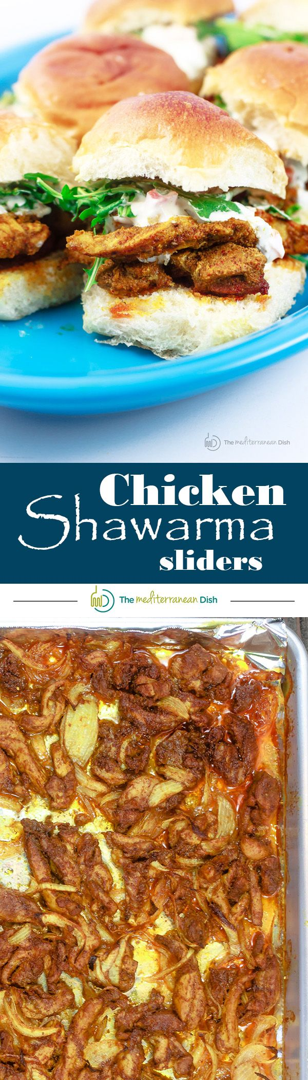Chicken Shawarma Recipe | The Mediterranean Dish. Step-by-step for how to make chicken shawarma at home (mixing your own shawarma spices)! This oven-roasted chicken shawarma version is closest to the real deal you find on the streets of the Middle East! Takes 40 mins all together! And to food a crowd, I do chicken shawarma sliders with only arugula and store-bought Greek yogurt dip for toppings!