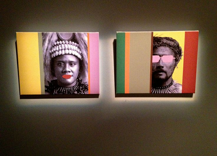 """""""See no evil, speak no evil (diptych)"""" by Shigeyuki Kihara, part of """"Somethin' Ain't Right: Uneasy Art from the Vault"""" at Waikato Museum (17 November 2012 - 26 January 2013)"""