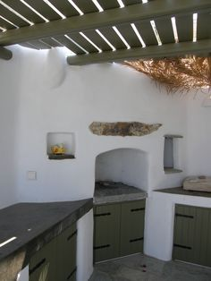 Traditional oven, concrete counters with cement mortar. Paros, Greece