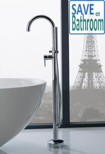 Bathroom Freestanding Bath Spout with Hand Shower Rail