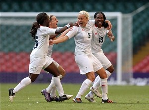 Olympic Team GB ladies won through to the quarter finals of the Olympics football tournament after a pair of impressive victories against New Zealand (1-0) and Cameroon (3-0). We love this celebratory picture!