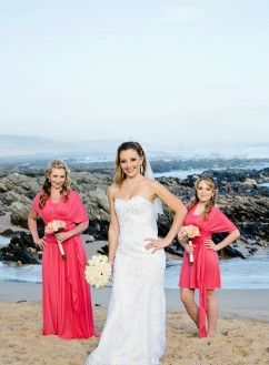 Ruby mermaid in white with detachable straps and sash lifted at the empire by Blushing Bride Designs Bright Coral Multiway Wrap Dresses by Blushing Bride Designs (stockists of Chocolates for Breakfast)