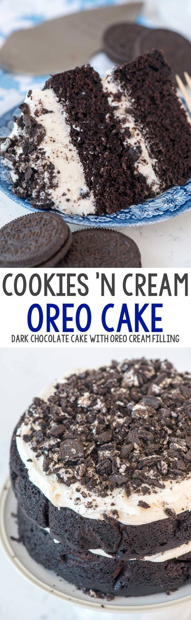 Extreme Cookies 'n Cream Cake - this cake tastes like an Oreo cookie! Dark chocolate cake layers sandwiched with a marshmallow buttercream frosting and lots of crushed Oreo cookies.