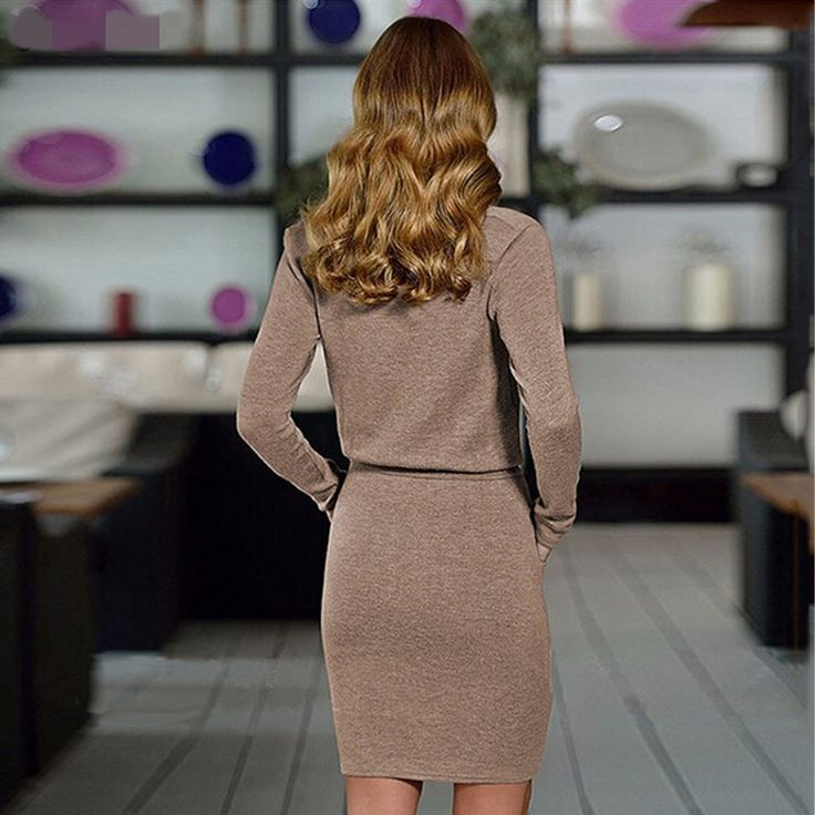 BEFORW Autumn And Winter Female Solid Color Sexy Plus Size Fashion Casual Long-Sleeved Pencil Dress Nightclub Dresses