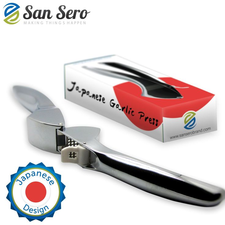 BEST Garlic Press - Japanese Design - 5 ★ RATED with Lifetime Guarantee - Premium Grade Steel Construction - Fully Self Cleaning + Dishwasher Safe - Ships today