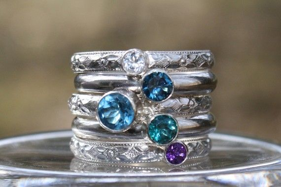 I LOVE this stackable Mother's Ring. You can do as many as 2 to up to 5 birthstones. I will have this on my Christmas Wish List this year!