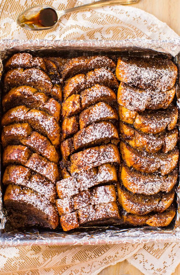 Overnight Gingerbread French Toast Breakfast Bake - Make-ahead French toast that's perfect for chilly mornings! Easy, no-flipping-required recipe!
