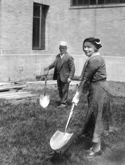 July, 1931: Gussie Wyner, an early leader of Hadassah, is turning the first shovel of soil for a new maintenance building & power plant at the Beth Israel Hospital in Boston.