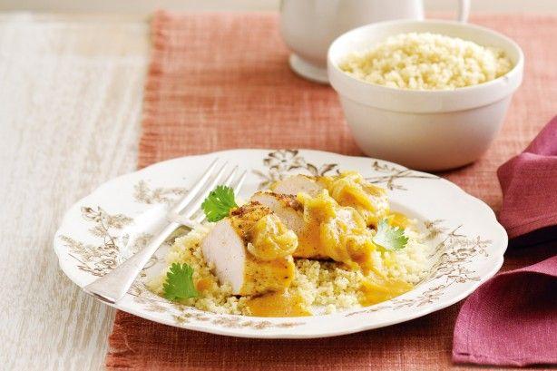Moroccan Apricot Chicken... Sub quinoa for couscous