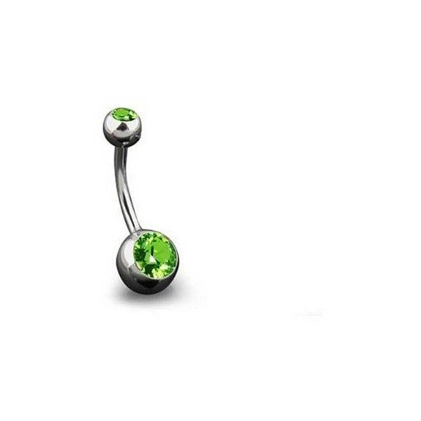 Bling Jewelry Peridot Color CZ August Birthstone Belly Ring 316L... ($9.99) ❤ liked on Polyvore featuring jewelry, green, cz jewelry, cubic zirconia jewelry, birthstone jewelry, zirconia jewelry and body jewelry
