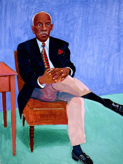David Hockney Dr Leon Banks, 2005 oil on canvas Unframed: 48 x 36 in (121.9 x 91.4 cm) Framed: 49 x 37 in (124.5 x 94 cm) Private collection