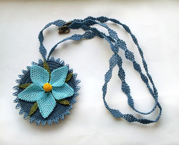 Needlework necklace Turkish embroidery oya fiber art Crochet tatted necklace via Etsy