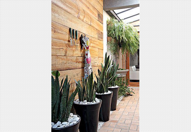 O corredor do jardim de inverno, projetado pela designer de interiores Cristiane Oliveira, recebeu o painel de pínus escurecido, onde foram pendurados o avental e os acessórios. Nos vasos, espadas-de-são-jorge. Ao fundo, samambaias criam uma cobertura natura